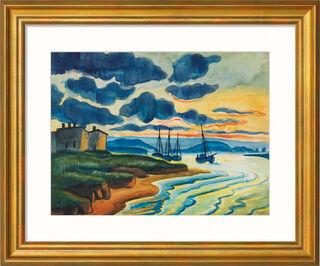 """Bild """"Sonnenuntergang"""" (1925), Version goldfarben gerahmt"""