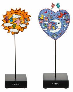 "2 Porzellanobjekte mit Künstlermotiven ""Birds love the sun / moon"" im Set"