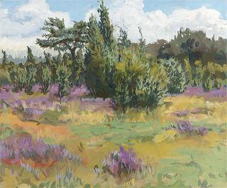 """Bild """"Wacholderwald II (Heideblüte & Wacholderwald bei Schmarbeck)"""" (2011), auf Keilrahmen"""