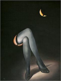 """Bild """"Geteilter Mond"""", auf Keilrahmen"""