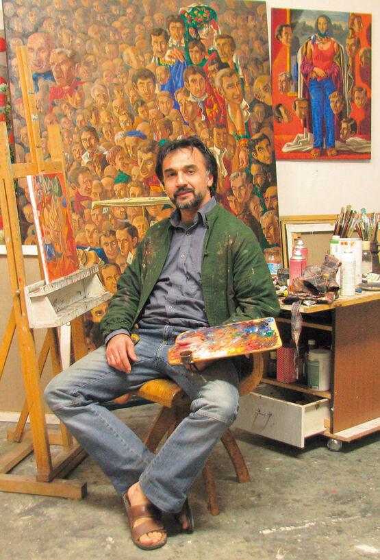 Der Maler Kaikaoss im Atelier