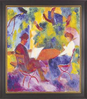 """Bild """"Paar am Gartentisch"""" (1914), gerahmt"""