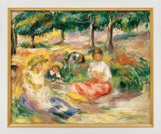 """Bild """"Drei junge Frauen im Grünen"""" (1896-97), Version weiß-goldfarben gerahmt"""