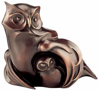 """Skulptur """"Eule mit Jungvogel"""", Bronze"""