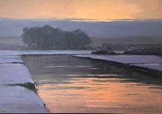 """Bild """"Abendliche Winterstimmung am Fluss"""" (2019) (Unikat)"""