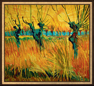 "Bild ""Weiden bei Sonnenuntergang"" (1888), gerahmt"