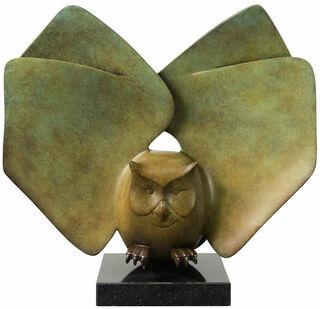 "Skulptur ""Landende Eule Nr. 6"", Bronze grün/braun"