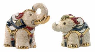 """2 Keramikfiguren """"Weißer Elefant und Baby"""" im Set"""