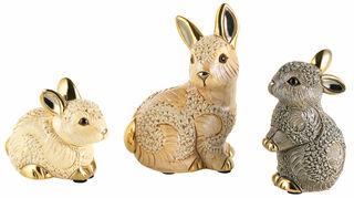 """3 Keramikfiguren """"Hasenfamilie"""" im Set"""