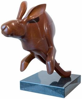 """Skulptur """"Laufender Hase Nr. 3"""", Bronze braun"""