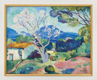 """Bild """"L'Amandier en fleurs"""" (1907), Version weiß-goldfarben gerahmt"""