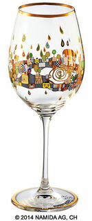 "(PM XIX/2) Weinglas ""BEAUTY IS A PANACEA - Gold - Rotwein"""