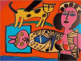 """Bild """"Femme, Chat et l'Oiseau - Frau, Katze und Vogel"""" (1999), ungerahmt"""