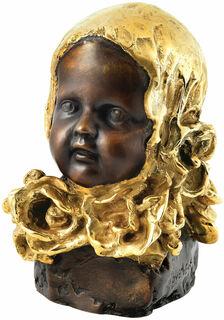 """Skulptur """"Mädchen mit goldenem Kopftuch"""", Bronze teilvergoldet"""
