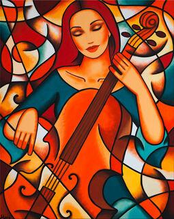 """Bild """"Mädchen mit Cello"""" (2021) (Original / Unikat), auf Keilrahmen"""