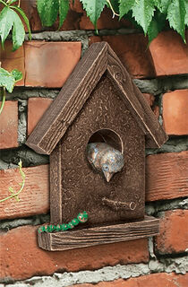"""Gartenobjekt / Wandskulptur """"Vogelhäuschen"""", Bronze"""