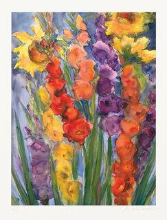 """Bild """"Gladiolen und Sonnenblumen"""" (2012), ungerahmt"""
