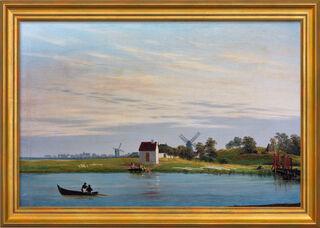 """Bild """"Landschaft mit Windmühlen"""" (um 1822/23), gerahmt"""