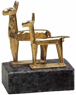 """Skulptur """"Lama-Paar"""", Metallguss vergoldet"""