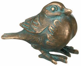 """Gartenskulptur """"Spatz, ruhend"""", Bronze"""
