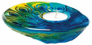 """Glas-Teelichthalter """"Pfau"""", Version blau/grün"""