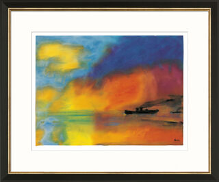 """Bild """"Meer mit zwei kleinen Dampfern (rot, blau und grün)"""", Version schwarz-goldfarben gerahmt"""
