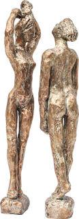"""Skulpturenpaar """"Pina - Tänzerpaar, Leben und Vollmond"""" (2019), Bronze"""