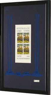 """Bild """"Vapor - Der Dampfer von Kap Verde"""". Sonderausgabe mit 4 Briefmarken à 50 Escudos, blau"""