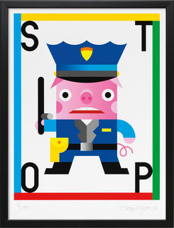 """Bild """"STOP"""", Version schwarz gerahmt"""