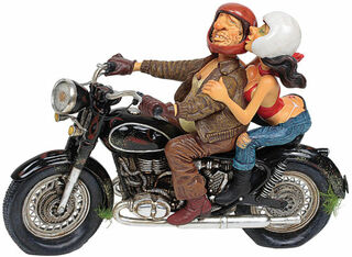 """Karikatur """"Motor Ride"""", Kunstguss handbemalt"""