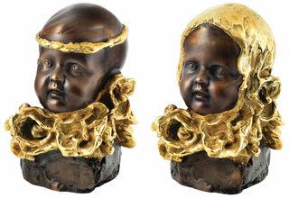 """2 Skulpturen """"Junge mit goldenem Stirnband"""" + """"Mädchen mit goldenem Kopftuch"""" im Set, Bronze teilvergoldet"""
