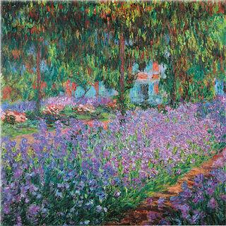"""Glasbild """"Irisbeet in Monets Garten"""""""