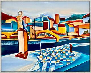 "Bild ""Brücke in Heidelberg"" (2020) (Original / Unikat), gerahmt"