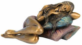 """Skulptur """"Ruhendes Mädchen"""", Bronze"""