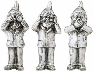 """3 Skulpturen """"Geheimnisträger - Nichts sehen, nichts hören und nichts sagen"""" im Set, Version versilbert"""