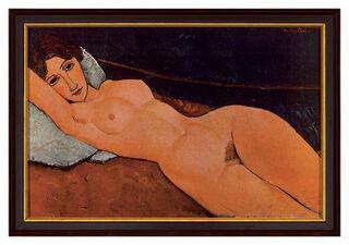 """Bild """"Liegender Frauenakt auf weißem Kissen"""", 1917, gerahmt"""