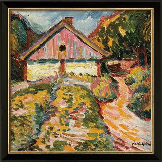 """Bild """"Haus an der Kurischen Nehrung"""" (1909), Version schwarz-goldfarben gerahmt"""