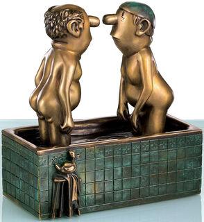 """Skulptur """"Herren im Bad"""", Bronze"""
