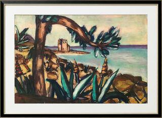 """Bild """"Meerlandschaft mit Agaven und altem Schloss"""" (1939), gerahmt"""