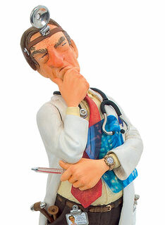 "Karikatur ""Der Doktor"", Kunstguss handbemalt"