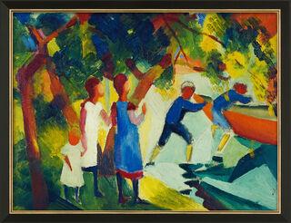 """Bild """"Spielende Kinder am Wasser"""" (1914), gerahmt"""