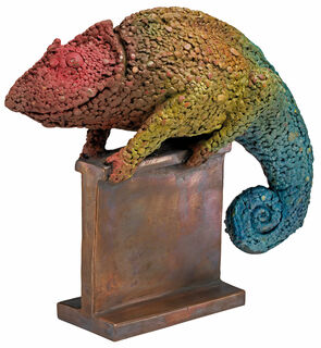 "Skulptur ""Chamäleon V/IX"", Bronze handbemalt"