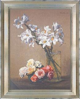 """Bild """"Weiße Lilien in Glasvase"""", gerahmt"""