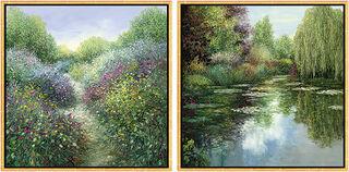 """2 Bilder """"Chemin Fleurie en Provence"""" + """"L'étang avec pâturage"""" im Set"""