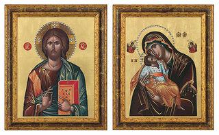 "2 Bilder ""Christus Pantokrator"" + ""Madonna Glikofilussa"" im Set"