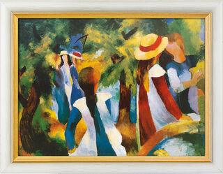 """Bild """"Mädchen unter Bäumen"""" (1914), gerahmt"""