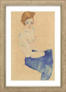 """Bild """"Sitzendes Mädchen mit nacktem Oberkörper und blauem Rock"""" (1911), gerahmt"""
