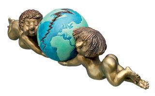 """Skulptur """"Putten mit Weltkugel"""", Bronze"""