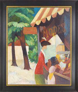 """Bild """"Vor dem Hutladen"""" (1914), gerahmt"""