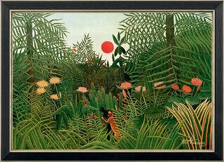 """Bild """"Urwaldlandschaft mit untergehender Sonne"""" (1910), gerahmt"""